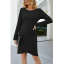 Women's Daily Leisure Solid Color Long Sleeves Pleated Side Midi Tulip Dress