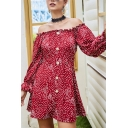 Hot Popular Dot Printed Stringy Selvedge Embellished Off the Shoulder Bell-Sleeve Button Closure Mini A-Line Dress