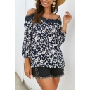 Adorable Ladies' Long Sleeve Cold Shoulder Lace Panel All Over Flower Printed Relaxed Fit Blouse