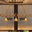 Beige 2/3 Lights Island Ceiling Light Industrial Amber Glass Barn Billiard Chandelier for Restaurant