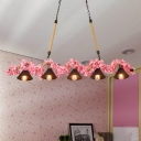 Metal Pink Linear Pendant Conical 5 Lights Farmhouse Billiard Pool Table Hanging Light Fixture for Restaurant