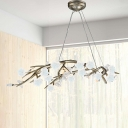 9 Bulbs Iron Hanging Chandelier Vintage Silver Branch Bedroom Pendant Lighting Fixture with Porcelain Flower Decor