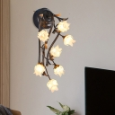Blossom Clear Glass Wall Sconce Light Pastoral 7 Heads Living Room LED Wall Lighting Fixture