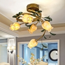 Frosted Glass Brass Ceiling Flush Bloom 5 Heads Retro LED Semi Mount Lighting for Dining Room