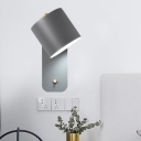 Minimalist Tubular Sconce Light Metal 1 Head Wall Mounted Lighting in Grey/Green for Bedside