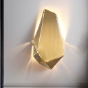 1 Head Dining Room Sconce Modern Gold Wall Mount Light Fixture with Geometric Metal Shade