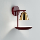 Red Armed Wall Lamp Contemporary 1 Head Metal Sconce Light Fixture with Gold Bell Shade