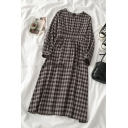 Brown Basic Long Sleeve Crew Neck Plaid Printed Bow Tied Back Oversize Long Swing Dress for Ladies
