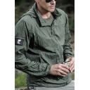 Men's Casual Plain Long Sleeves Zip-Up Loose Fit Quick Drying Track Jacket Trench Coat