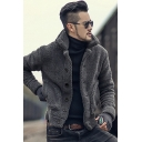 Men's Simple Plain Long Sleeves Button Down Slim Fit Warm Teddy Coat with Pocket
