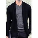 Metrosexual Men's Black Long Sleeves Open Front Loose Knitwear Cardigan with Pocket
