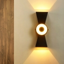Modern LED Wall Lamp Tapered Black Sconce Light Fixture with Metal Shade in White/Warm Light