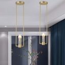 Gold Rectangle Hanging Light Modern 1 Bulb Metal Pendant Light Kit with Tube Clear Glass Shade