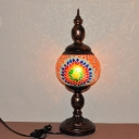 1 Head Stained Glass Table Lamp Traditional Orange Tower Study Room Nightstand Light