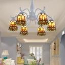 White 6/8 Lights Semi Flush Ceiling Light Mediterranean Stained Glass Bell Semi-Flush Mount