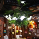 Industrial Lily Pendant Light Fixture 12 Bulbs Metal LED Hanging Lamp Kit in Green for Restaurant