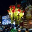Rose Restaurant Chandelier Lighting Fixture Vintage Metal 5 Lights LED Black Suspension Lamp