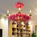 Pink 6 Heads Chandelier Lighting Industrial Metal Candle LED Flower Suspension Pendant with Dangling Crystal
