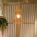 Flared Pendant Lighting Japanese Bamboo 1 Head Wood Ceiling Hanging Light, 12