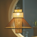 Asia 1 Bulb Pendant Lighting Beige Tapered Ceiling Suspension Lamp with Bamboo Shade