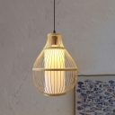 Beige Pear Pendant Lamp Japanese 1 Head Bamboo Hanging Light Fixture for Tearoom