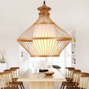 Chinese Pear-Shaped Pendant Lighting Bamboo 1 Bulb Ceiling Suspension Lamp in Beige