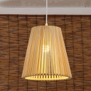 1 Head Wide Flare Pendant Lighting Chinese Bamboo Ceiling Suspension Lamp in Wood