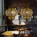 Oval Cage Metal Hanging Lamp Antiqued 1 Head Restaurant Pendant Light Fixture in Brass
