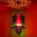 Metal Lantern Chandelier Pendant Vintage 3 Bulbs Restaurant Hanging Light in Brass