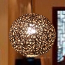Round Ceiling Lamp Chinese Rattan 1 Bulb 12
