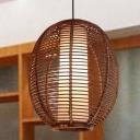 Oval Pendant Light Japanese Bamboo 1 Bulb Brown Suspended Lighting Fixture for Living Room