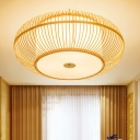 Lantern Flush Mount Asian Bamboo 1 Head Beige Ceiling Light Fixture with Inner Cylinder White Shade