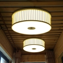 LED Bedroom Flush Mount Asian Beige Ceiling Mounted Light with Drum Bamboo Shade