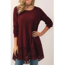 Women's Casual Long Sleeve Round Neck Loose-Fit Lace Patchwork Tunic Hooded T-Shirt