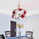 White Glass Rose Drop Pendant Pastoral 1 Head Dining Room Hanging Lamp Kit, 12.5