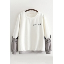 Cute Embroidery Letter MINI CAT Printed Contrast Color Long Sleeves Round Neck Loose Fit Pullover Sweatshirt