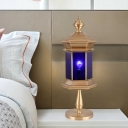 1 Light Lantern Table Lamp Traditional Brass Metal Nightstand Light with Blue Glass Shade