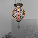 Sphere Stained Glass Hanging Lighting Art Deco 1-Head Bar Pendant Lamp Fixture in White/Red/Yellow