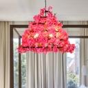 Cherry Blossom Metal Chandelier Light Industrial 6 Bulbs Restaurant Hanging Lamp in Purple