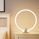 Circular Acrylic Task Lighting Contemporary LED White Night Table Lamp in White/Warm Light