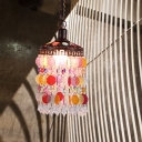Antique Cascading Ceiling Pendant Light 1 Bulb Metal Hanging Lamp in Rust for Restaurant