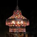 3 Heads Lantern Chandelier Lighting Art Deco Bronze Metal Suspension Lamp for Living Room