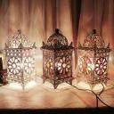 1 Bulb Night Table Lighting Art Deco Pavilion Metal Nightstand Lamp in Silver/White/Bronze for Bedroom