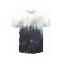 3D Forest Printed Short Sleeve Round Neck Slim Fit White and Green Leisure T-Shirt