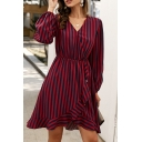 Classic Color-Block Vertical Stripe Printed V-Neck Lantern Sleeves Ruffle Hem Midi A-Line Dress