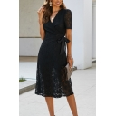 Summer Fashion Plain Black Lace Patch Short Sleeves V-Neck Bowtie Side Midi Cocktail Party Dress