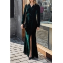 Boutique Dark Green Long Sleeve Surplice Neck Velvet Tied Waist Maxi Wrap Dressing Gown