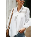Popular Women's Solid Color Long Sleeve Bow Tie Neck Sheer Lace Panel Loose Fit Blouse Top