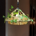 1 Head Hemp Rope Pendant Lamp Antique Yellow Conical Restaurant LED Down Lighting with Plant Decoration