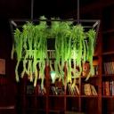 2 Heads Metal Island Pendant Antique Black Trapezoid Restaurant LED Down Lighting with Plant Decor